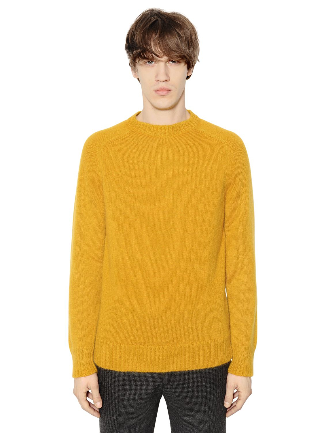 Mp massimo piombo Alpaca Blend Crew Neck Sweater in Yellow for Men ...