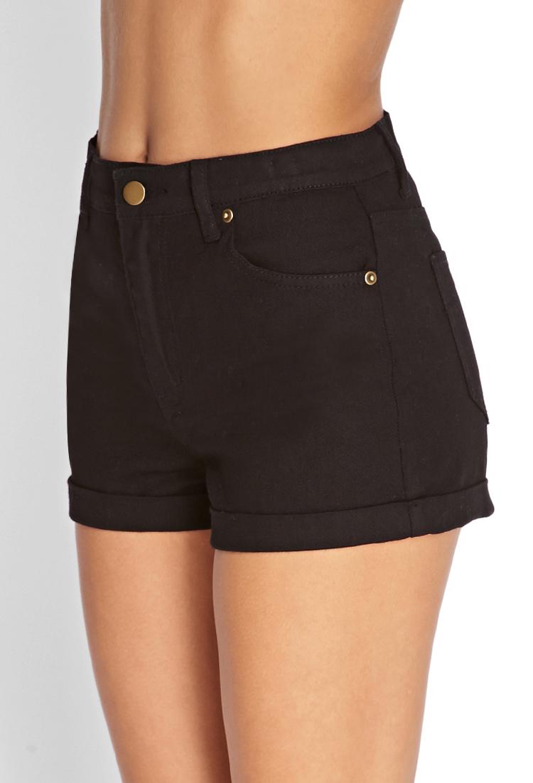forever 21 cuffed denim shorts in black lyst