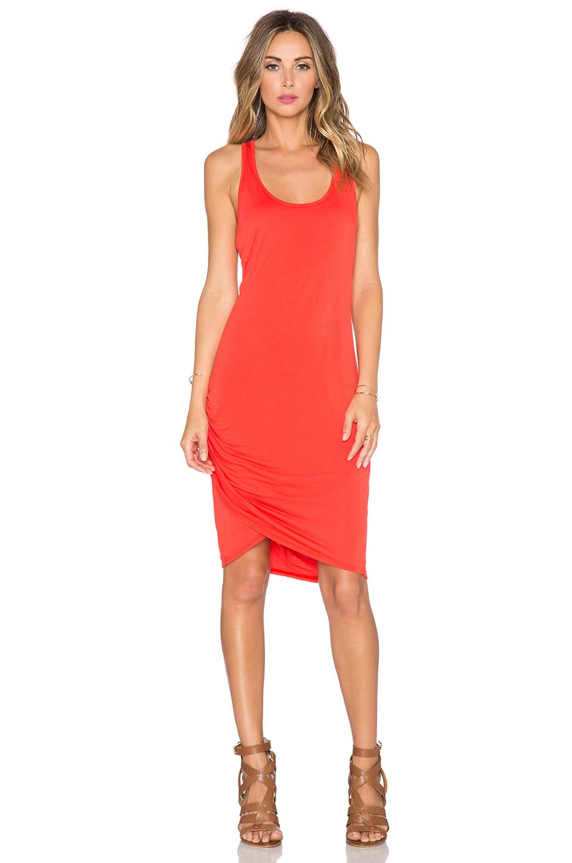 Michael Stars Scoop Neck Wrap Dress In Orange Lyst