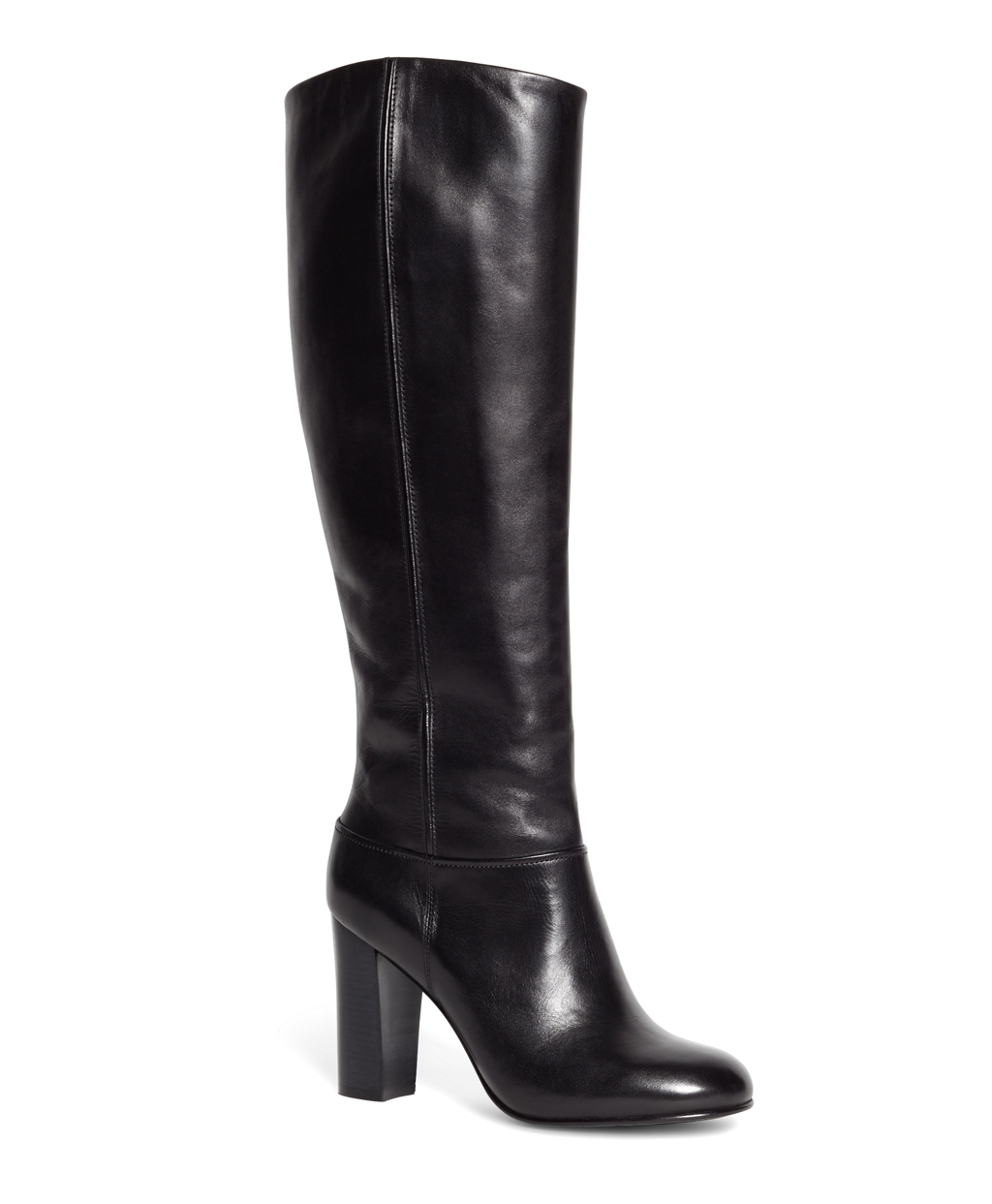 Brooks brothers Tall Leather Stacked Heel Boots in Black ...