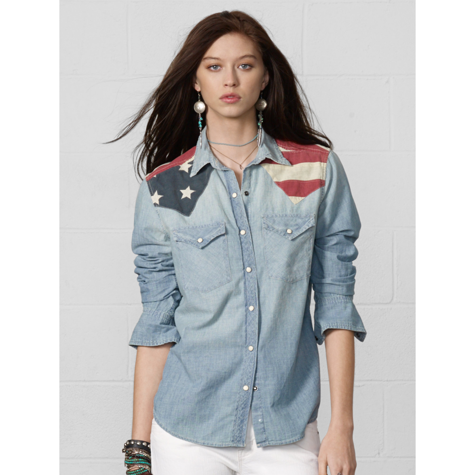 26d55b39a8 Lyst Denim Supply Ralph Lauren Flag Liqué Chambray Shirt In Blue
