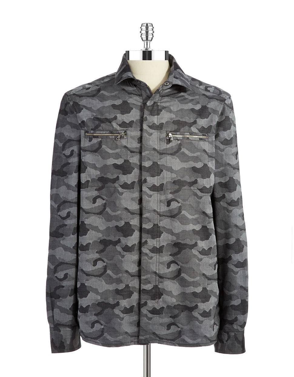 Kenneth Cole Camouflage Button Down Shirt In Gray For Men