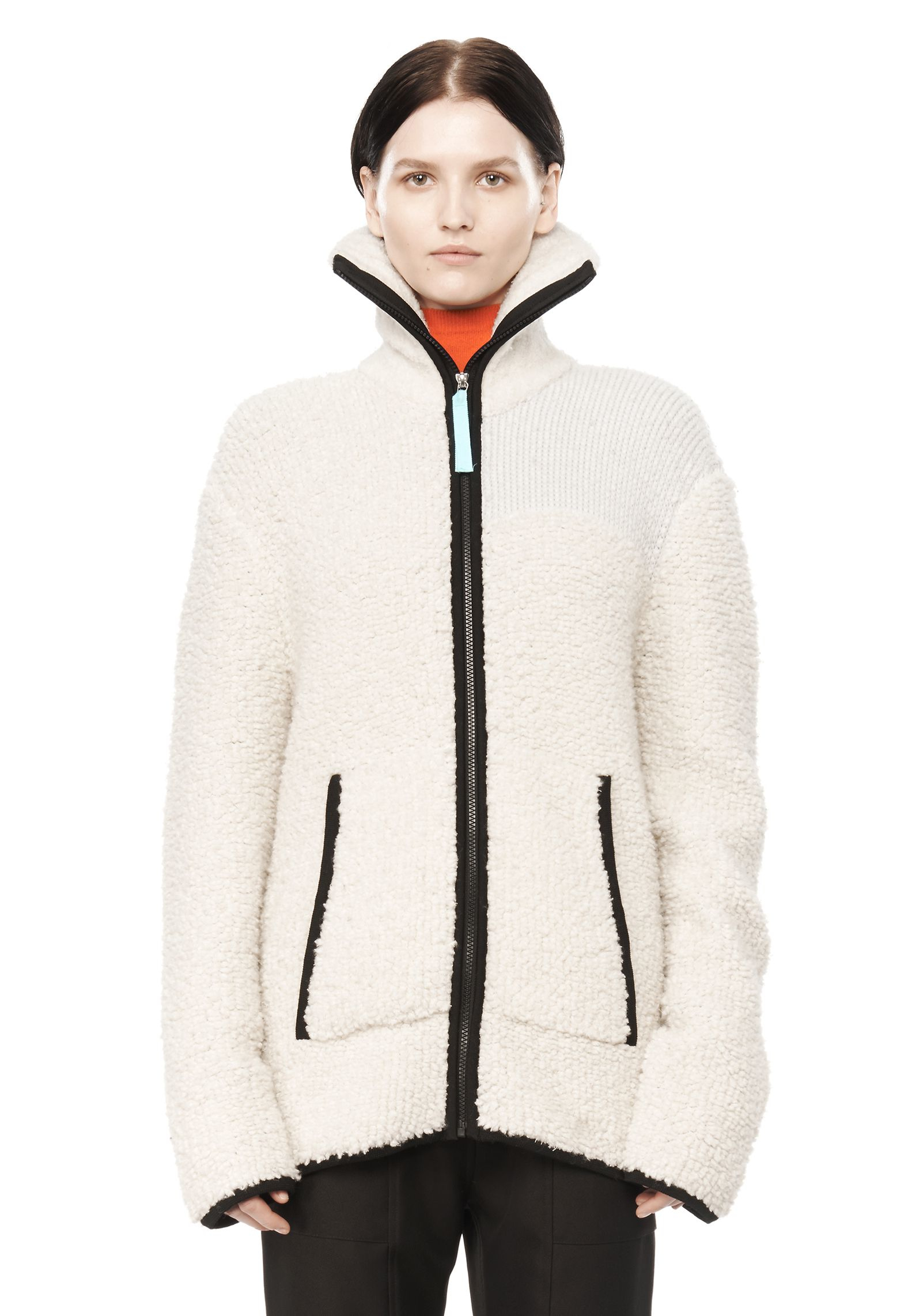 T by alexander wang Chunky Fleece Zip Up Jacket in White | Lyst