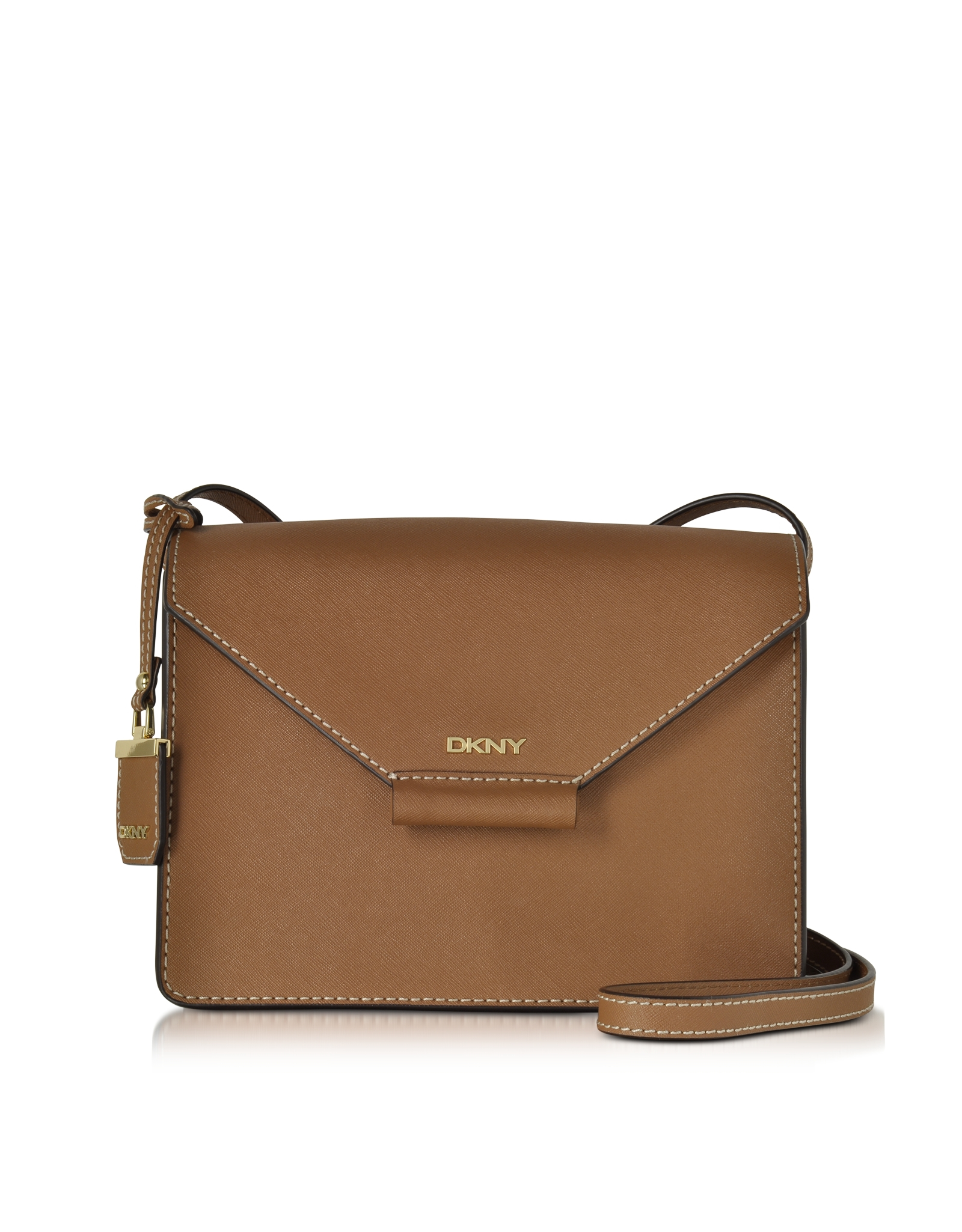 dkny bryant park saffiano leather flap crossbody in brown lyst. Black Bedroom Furniture Sets. Home Design Ideas