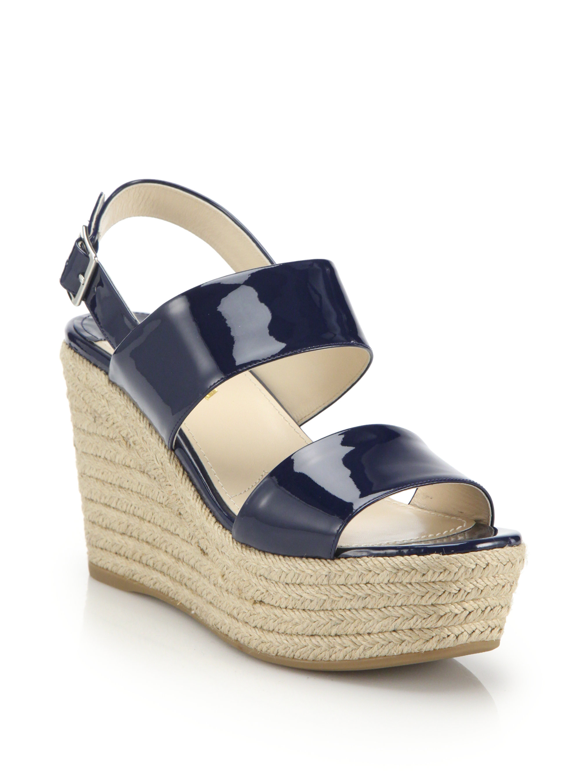 b060744b133 Prada Patent Leather Espadrille Platform Wedge Sandals in Blue