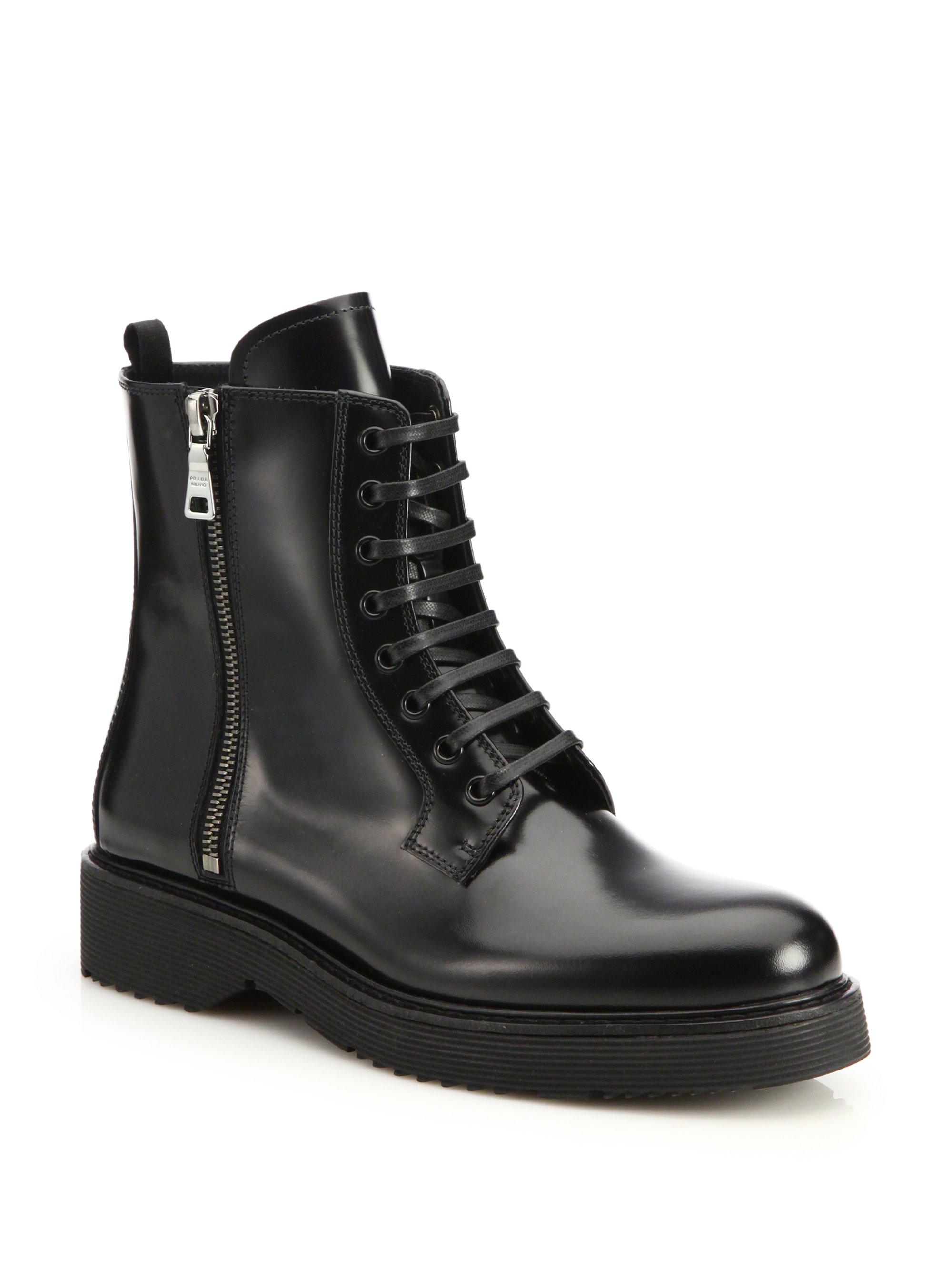 Lyst - Prada Spazzolato Combat Boots in Black 0a1a53a7afd4