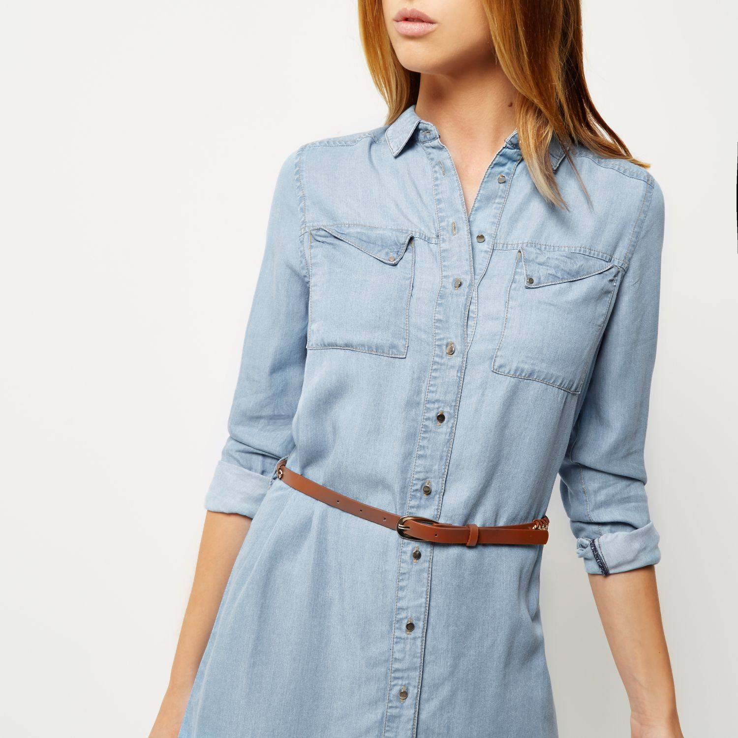 Lyst river island light blue denim shirt dress in blue for Blue denim shirt for womens