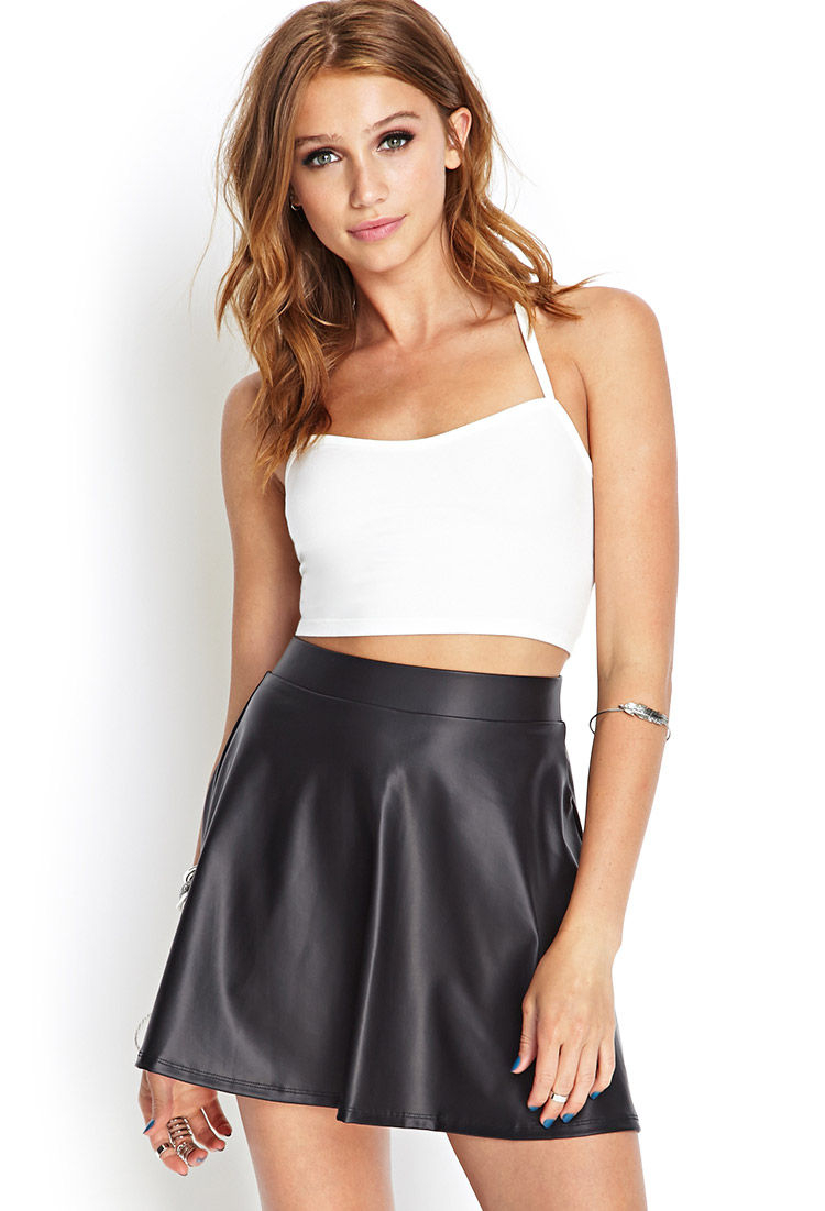 Forever 21 Faux Leather Skater Skirt in Black | Lyst