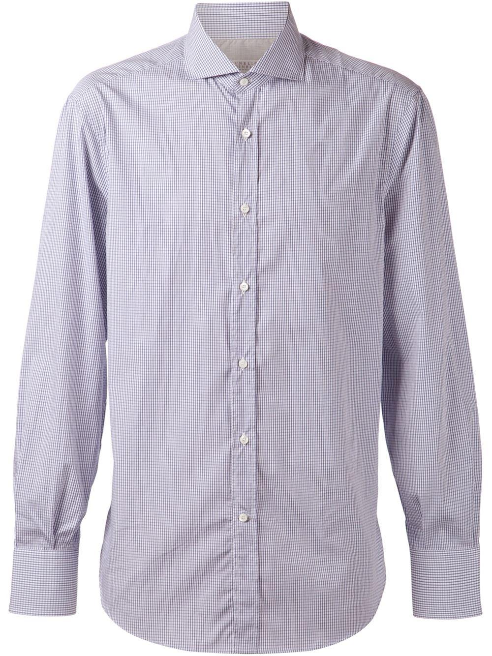 Brunello cucinelli spread collar shirt in blue for men lyst for What is a spread collar shirt