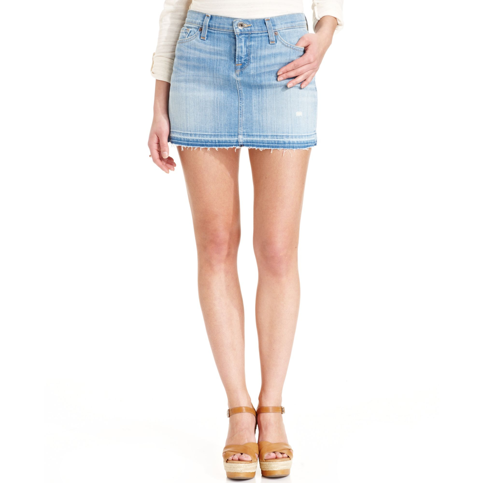 Lucky brand Denim Mini Skirt in Blue | Lyst