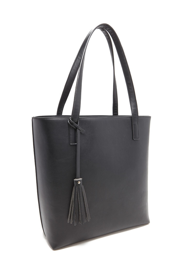 13e865bad01b Lyst - Forever 21 Structured Faux Leather Tote in Black