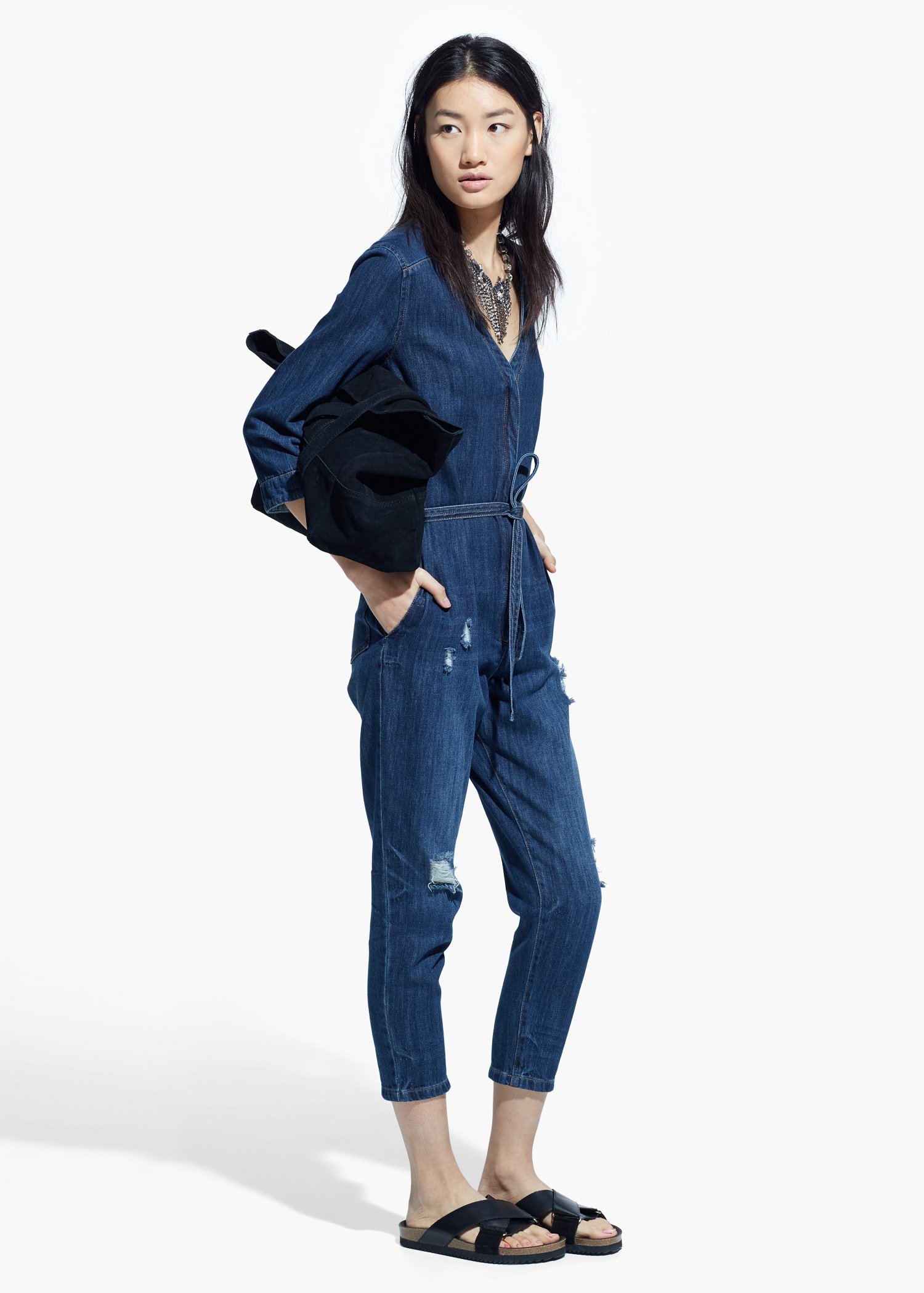 Mango Dark Denim Jumpsuit in Blue | Lyst