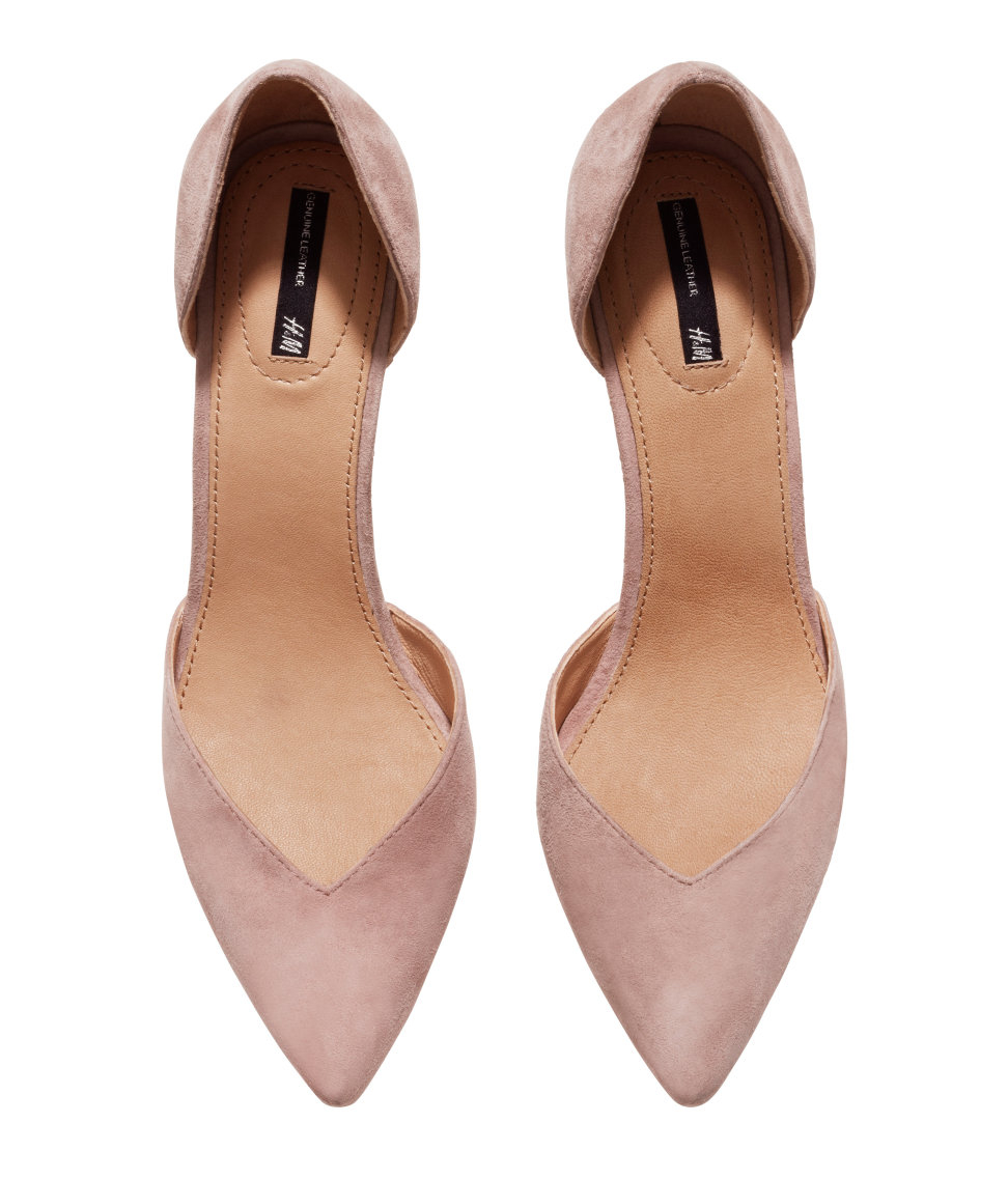 810f063add1d H M Suede Court Shoes in Pink - Lyst