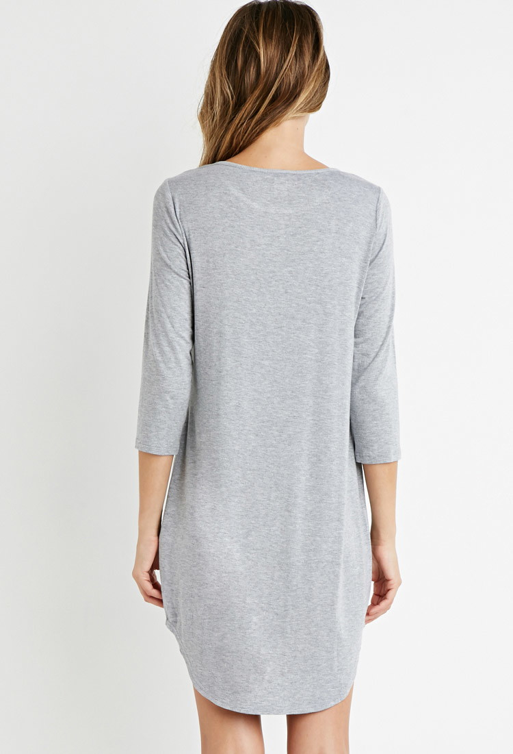 f931990c4f Lyst - Forever 21 Curved-hem T-shirt Nightdress in Gray