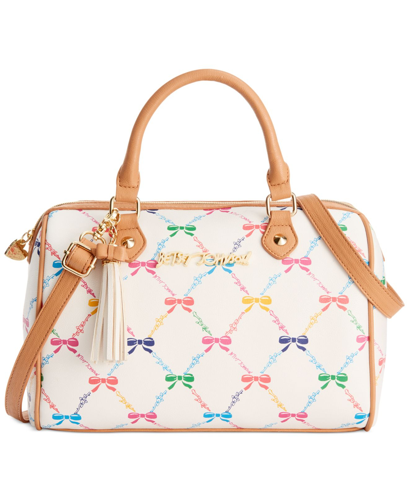 6c2b0d3083 Lyst - Betsey Johnson Let Us Lattice Bow Print Satchel in Natural