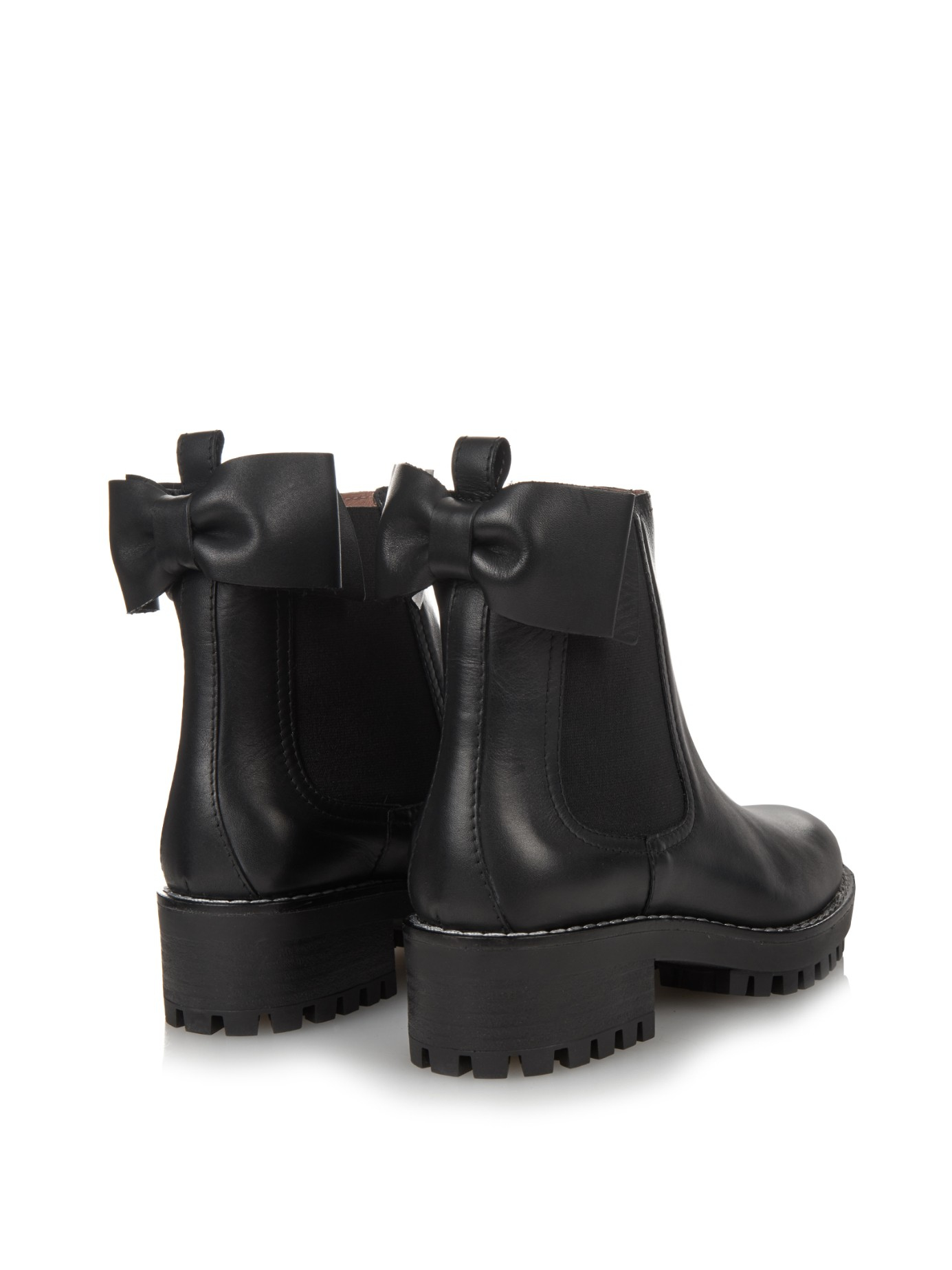 Lyst Red Valentino Beatle Bow Leather Chelsea Boots In Black