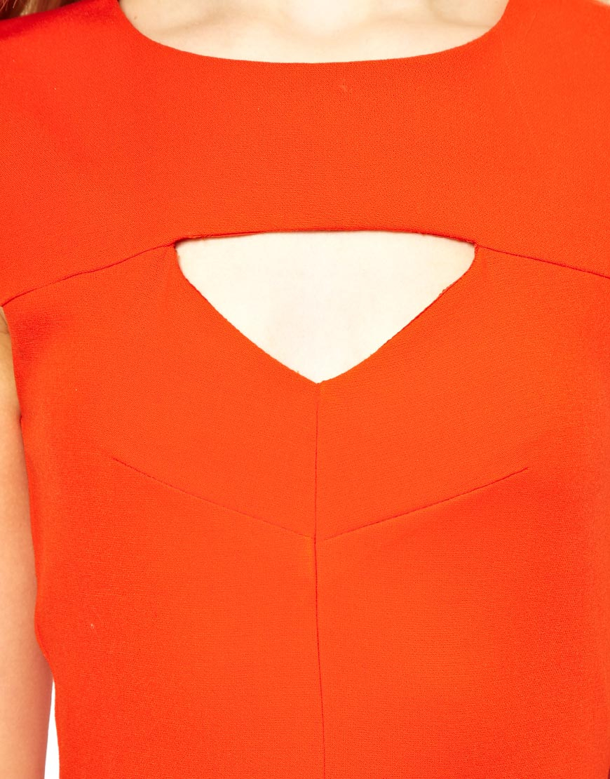 French Connection Cut Out Fit And Flare Dress In Orange Lyst