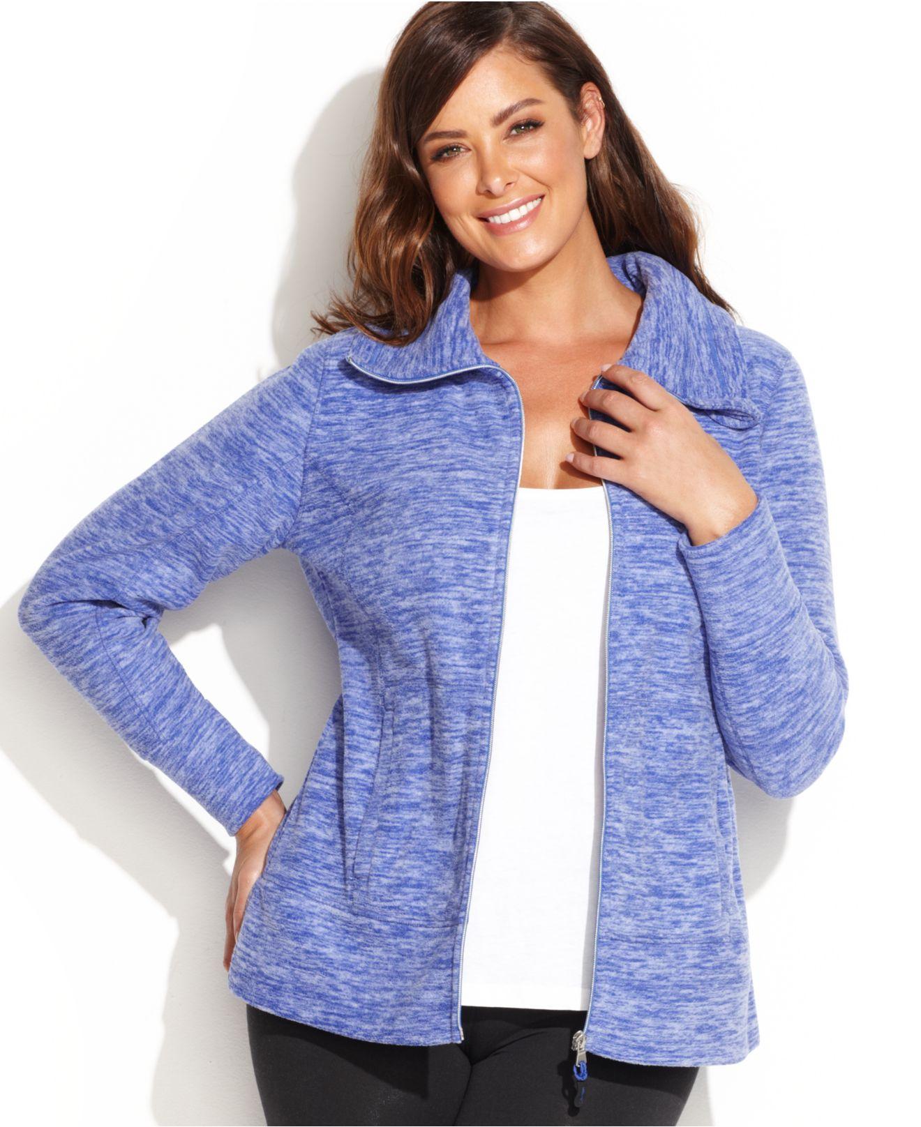 Calvin klein Performance Plus Size Patterned Fleece Jacket in Blue ...