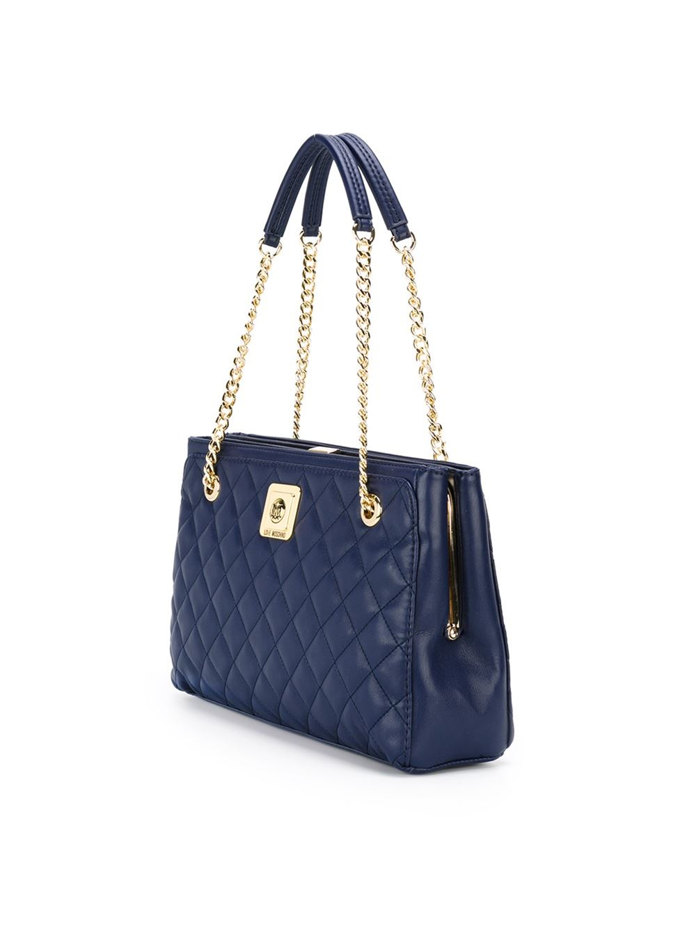love moschino quilted shoulder bag in blue lyst. Black Bedroom Furniture Sets. Home Design Ideas
