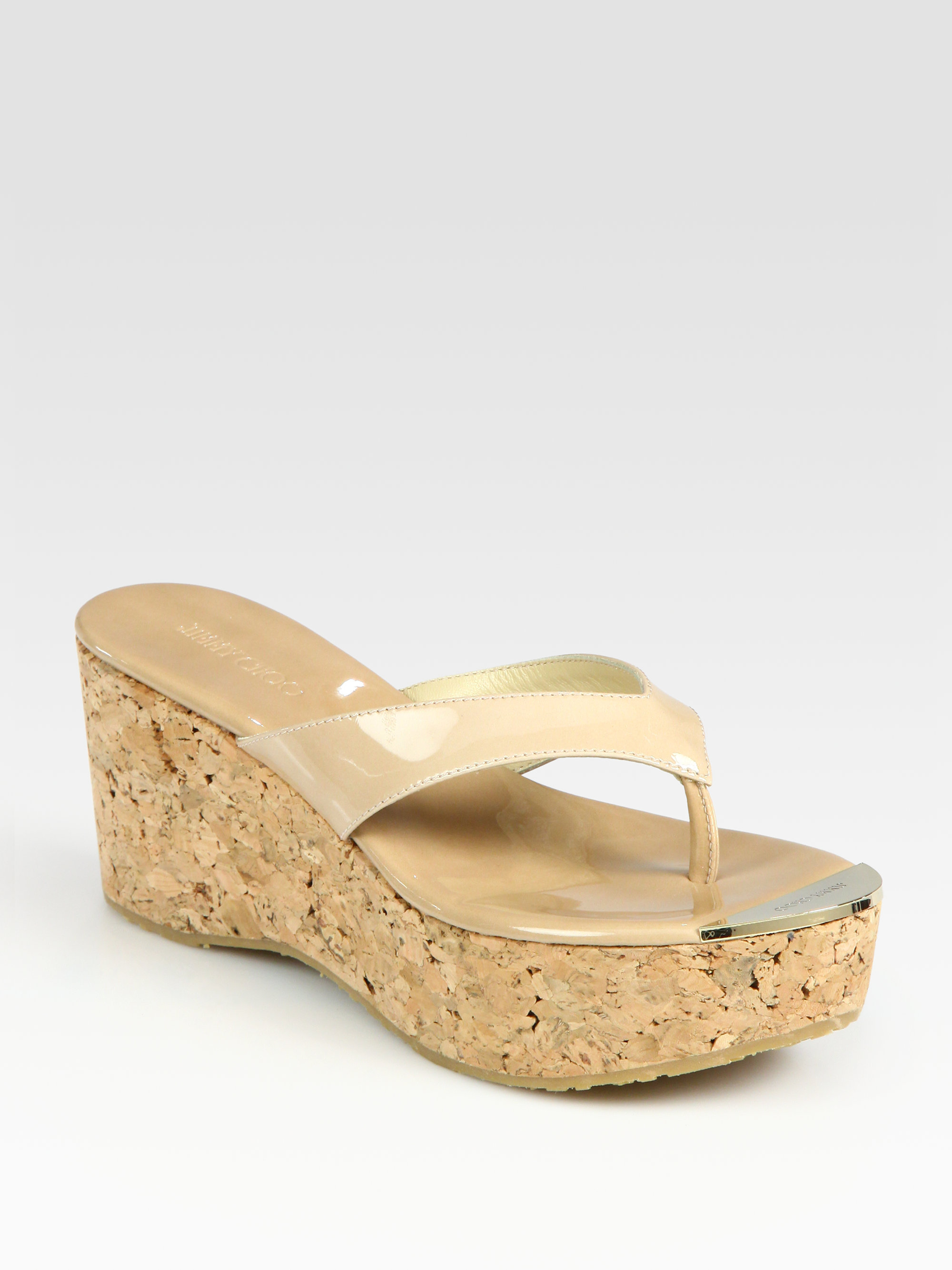 f7c2af55c082d ... shop lyst jimmy choo patent leather wedge sandals in natural 1c967 3b2b5