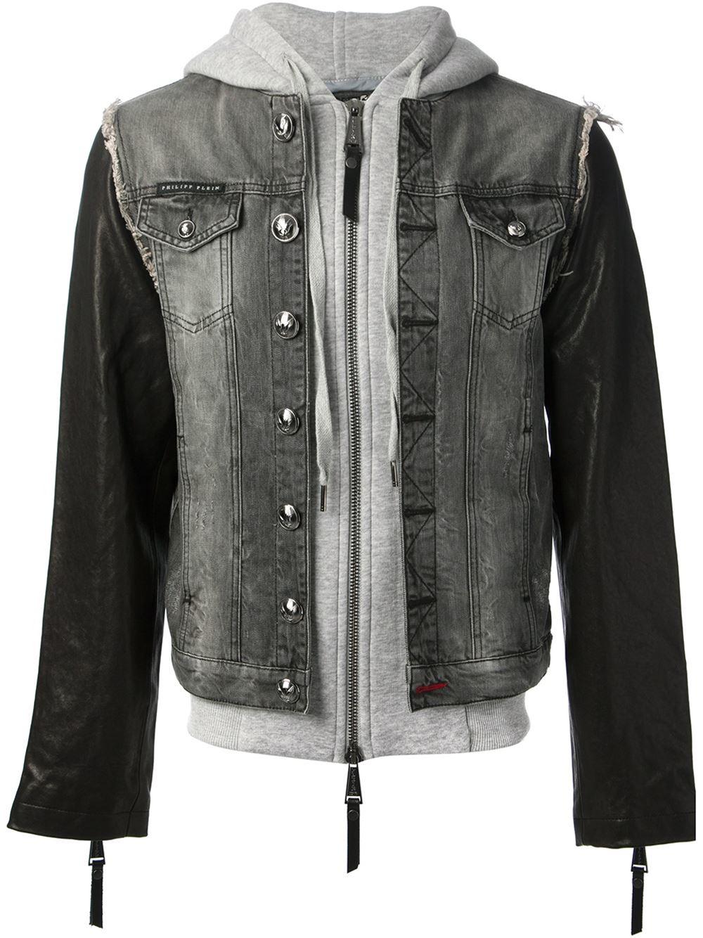 Philipp Plein Hooded Denim Jacket In Gray For Men Lyst