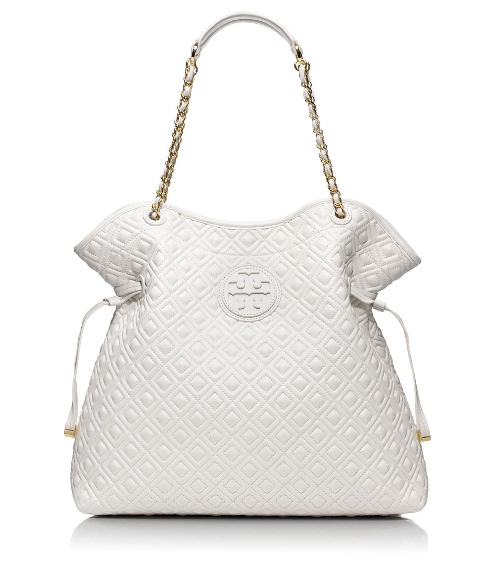 Lyst Tory Burch Marion Quilted Slouchy Tote In White