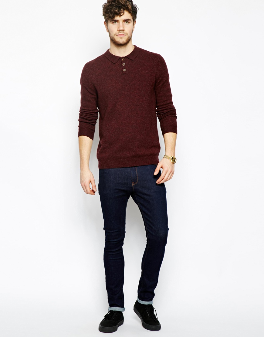 Asos Lambswool Rich Polo Neck Jumper in Red for Men | Lyst