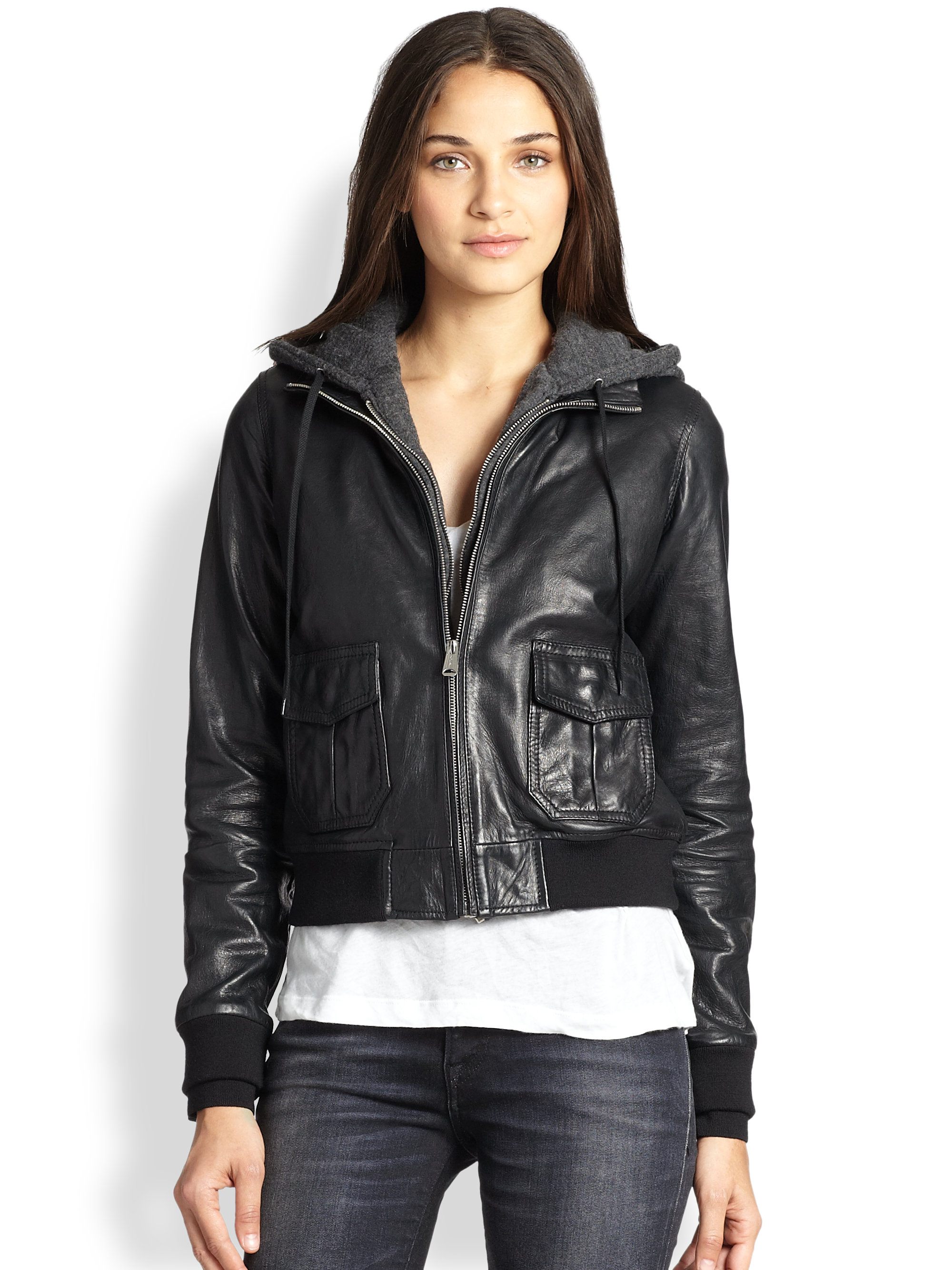 Womens hooded leather bomber jacket