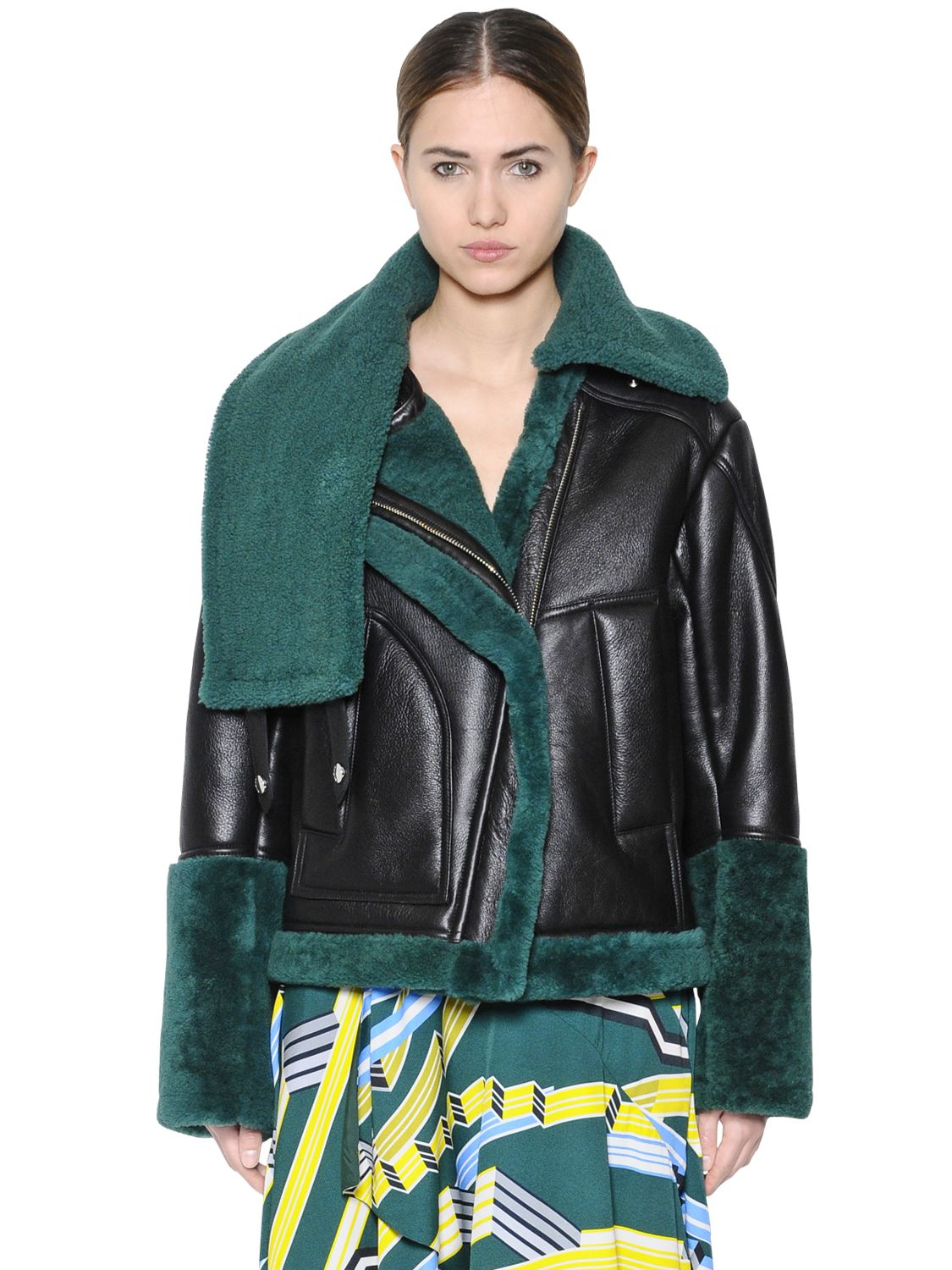 Kenzo Shearling & Leather Jacket in Green | Lyst