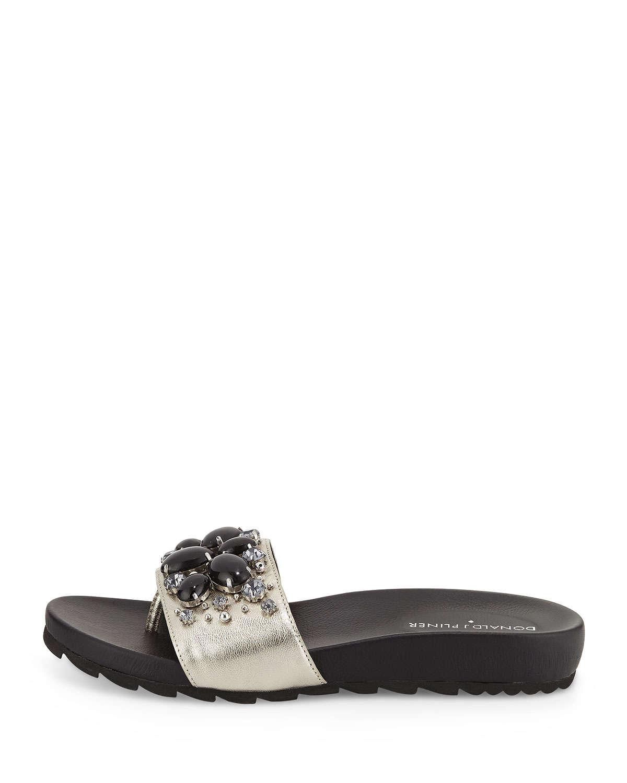 f1bf1d4193b Lyst donald pliner trena embellished slide sandals in metallic jpg  1200x1500 Donald pliner slide sandals