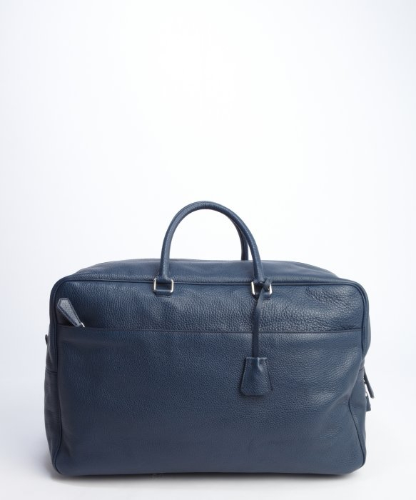 Prada Navy Blue And White Colorblocked On One Side Leather Travel ...
