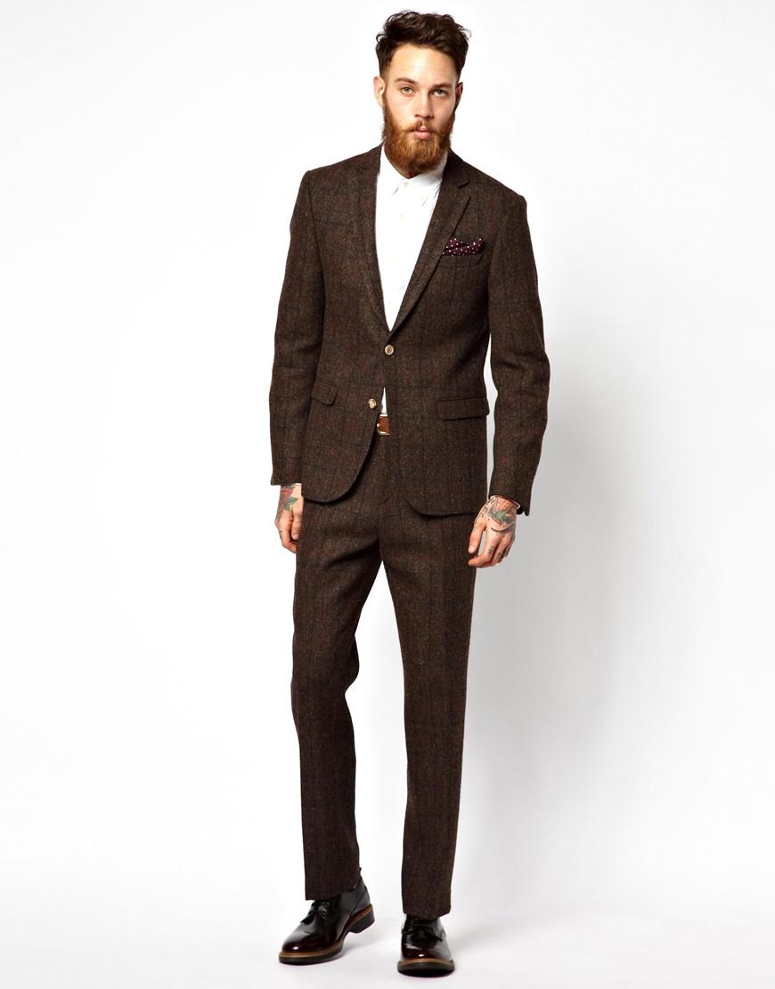 Asos Slim Fit Suit Trousers in Harris Tweed in Brown for Men | Lyst