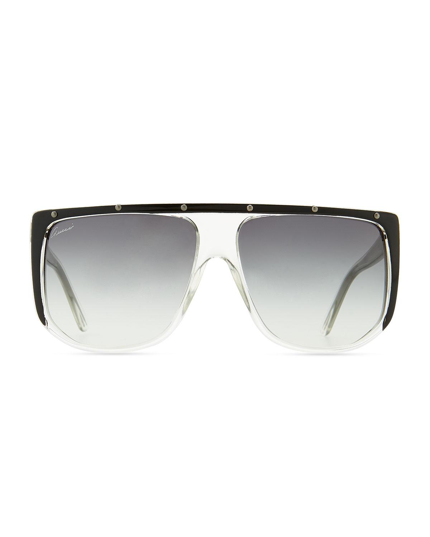 ca7dfe1883 Lyst - Gucci Studded Plastic Shield Sunglasses in Black