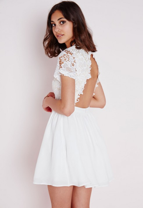 5aab1c1fe261 Lyst - Missguided Lace Short Sleeve Skater Dress White nude in White