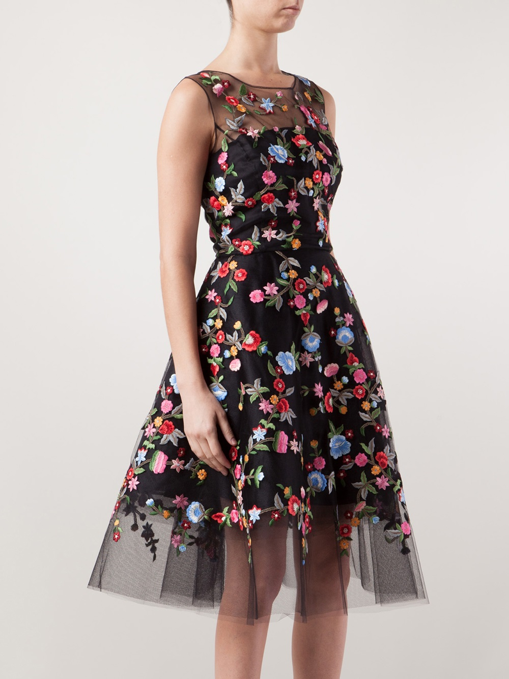 Lyst Oscar De La Renta Floral Embroidered Tulle Dress In