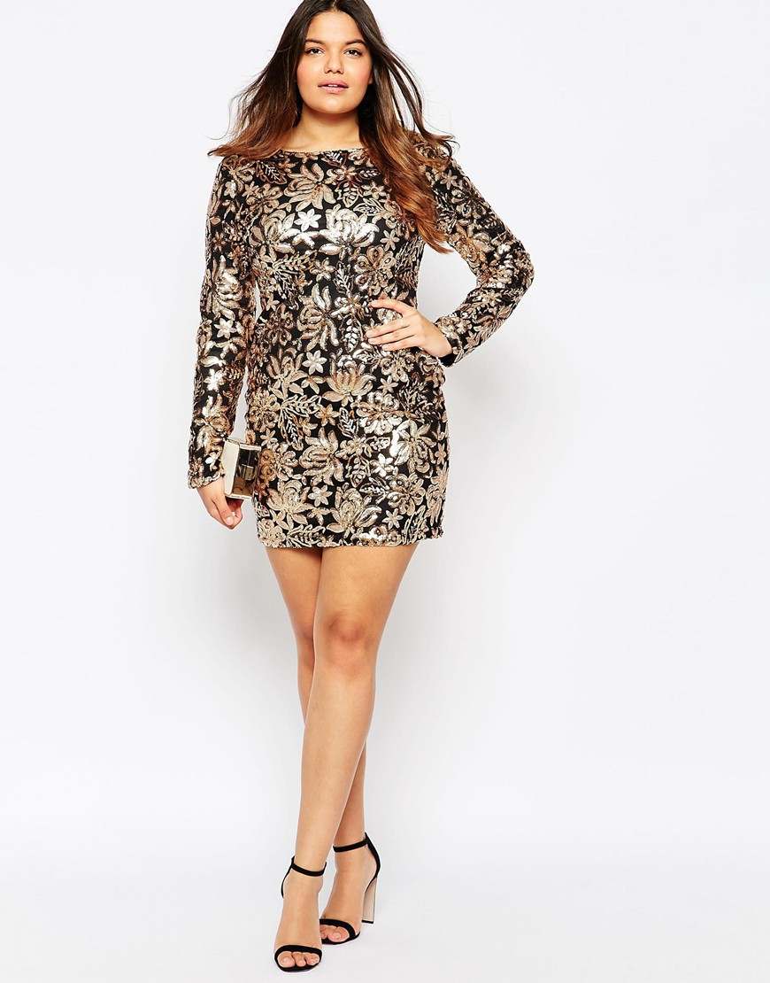 Club L Metallic Plus Size Dress In Floral Sequins