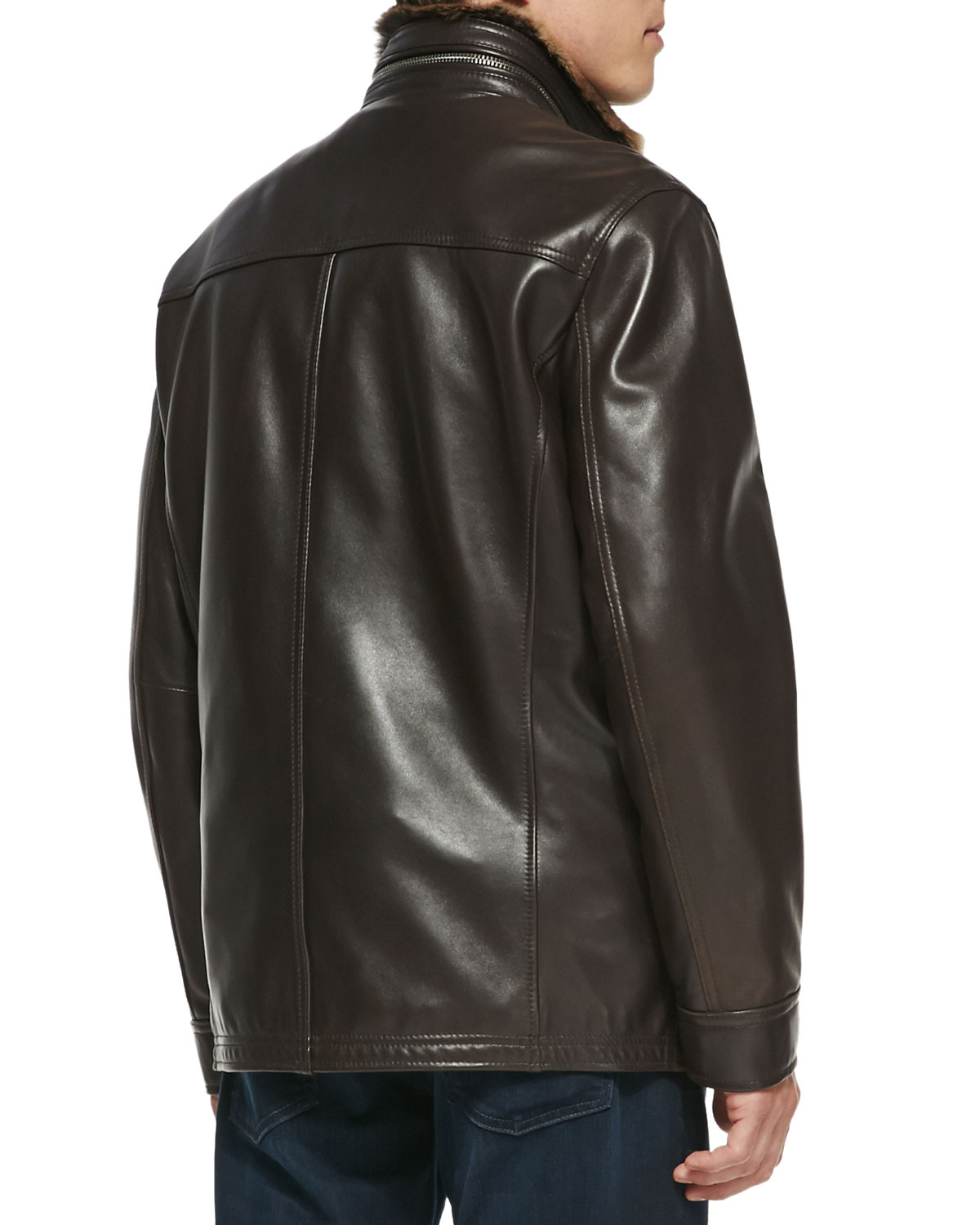 Andrew Marc Fur Lined Leather Car Coat In Brown For Men Lyst