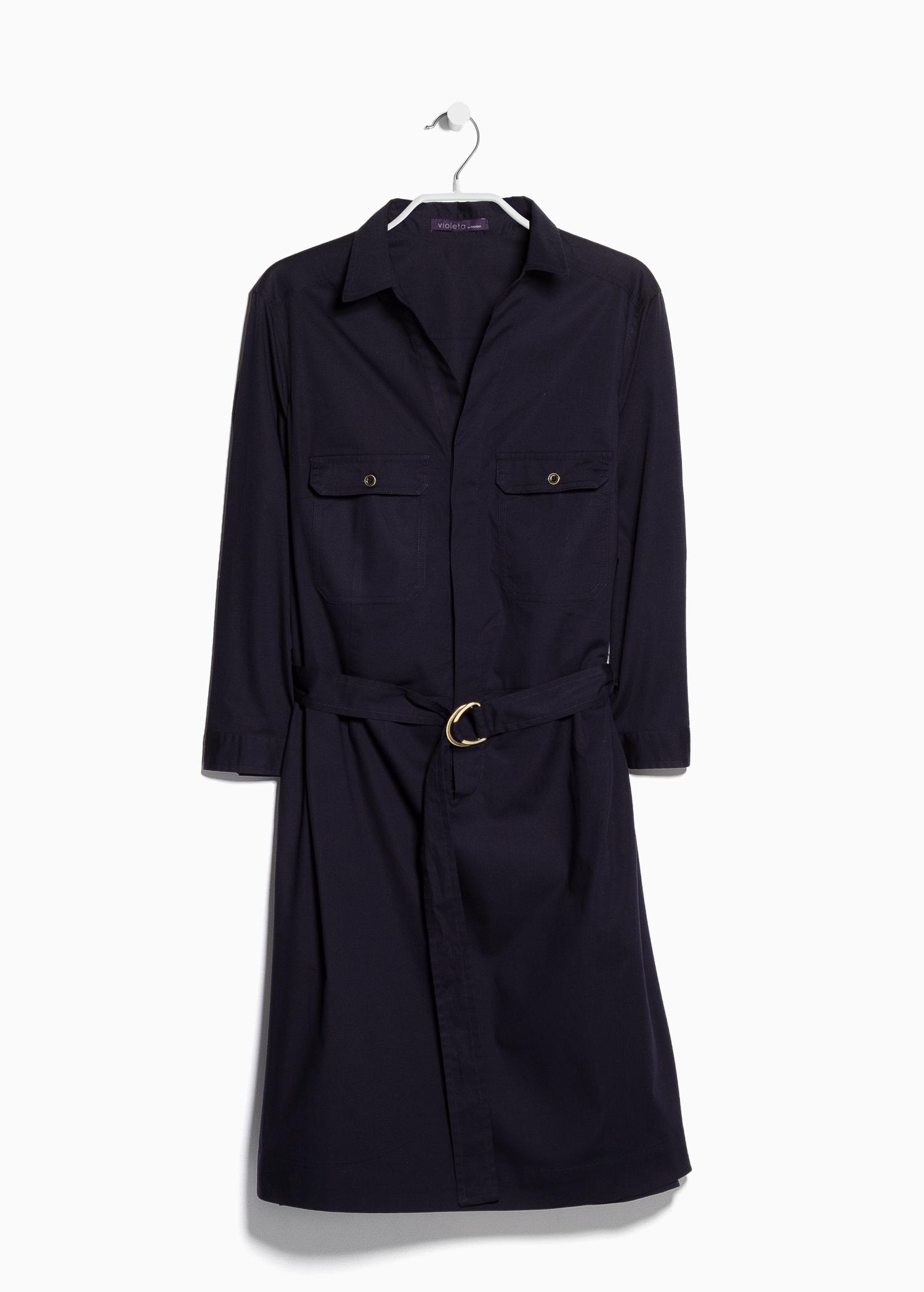 violeta by mango belt shirt dress in blue lyst