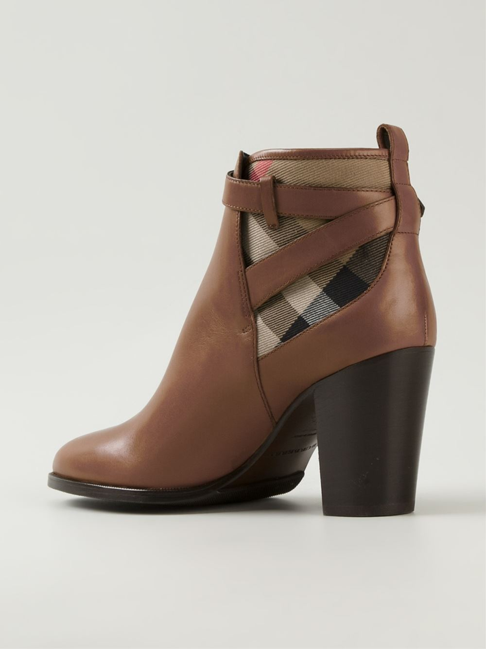 Lyst Burberry House Check Ankle Boots In Brown