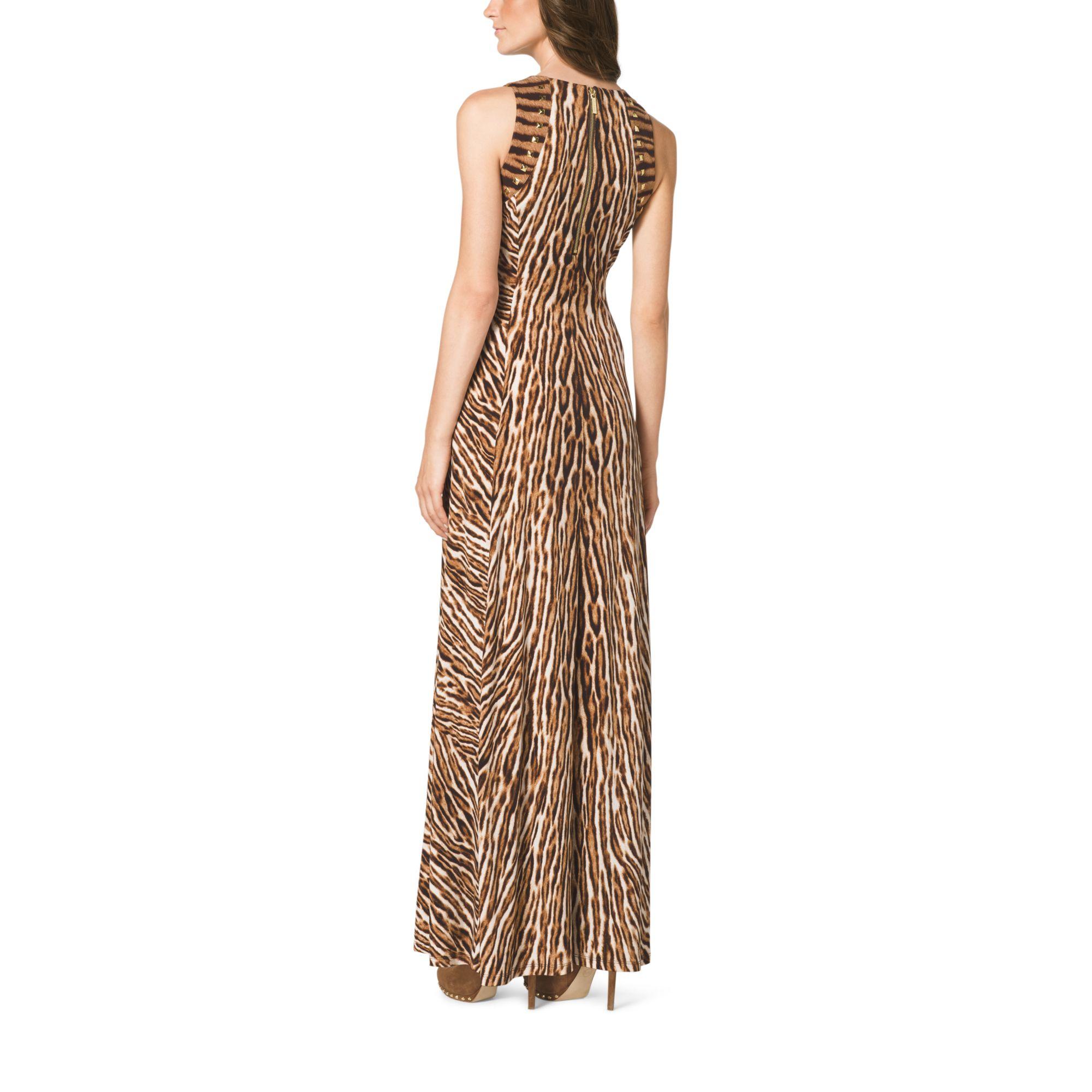 Michael kors Mixed Animal-Print Maxi Dress | Lyst