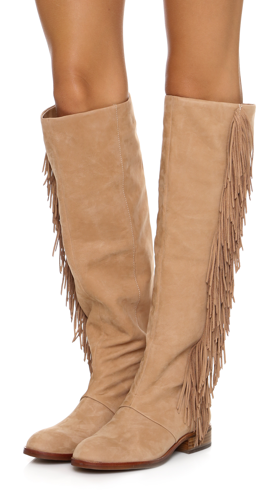 Sam edelman Josephine Fringe Boots in Brown | Lyst