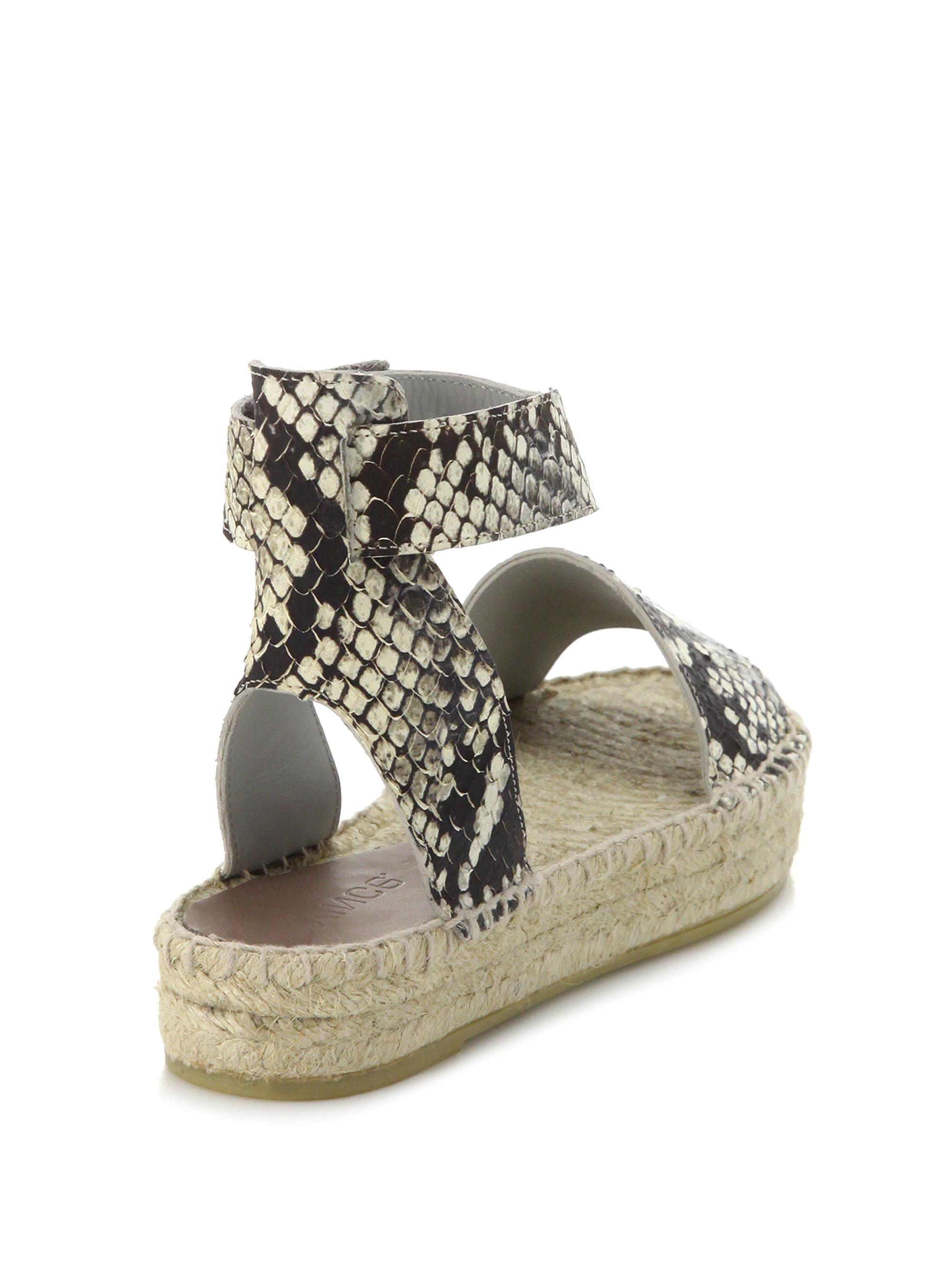 Vince Edie Snake Embossed Leather Espadrille Sandals In