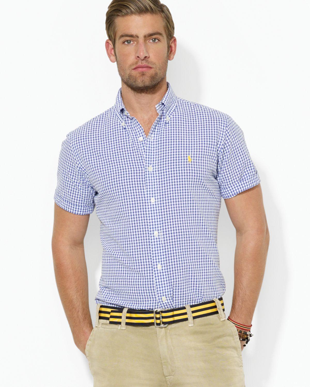 018018316cd Ralph Lauren Custom Fit Short Sleeved Checked Seersucker Shirt in ...