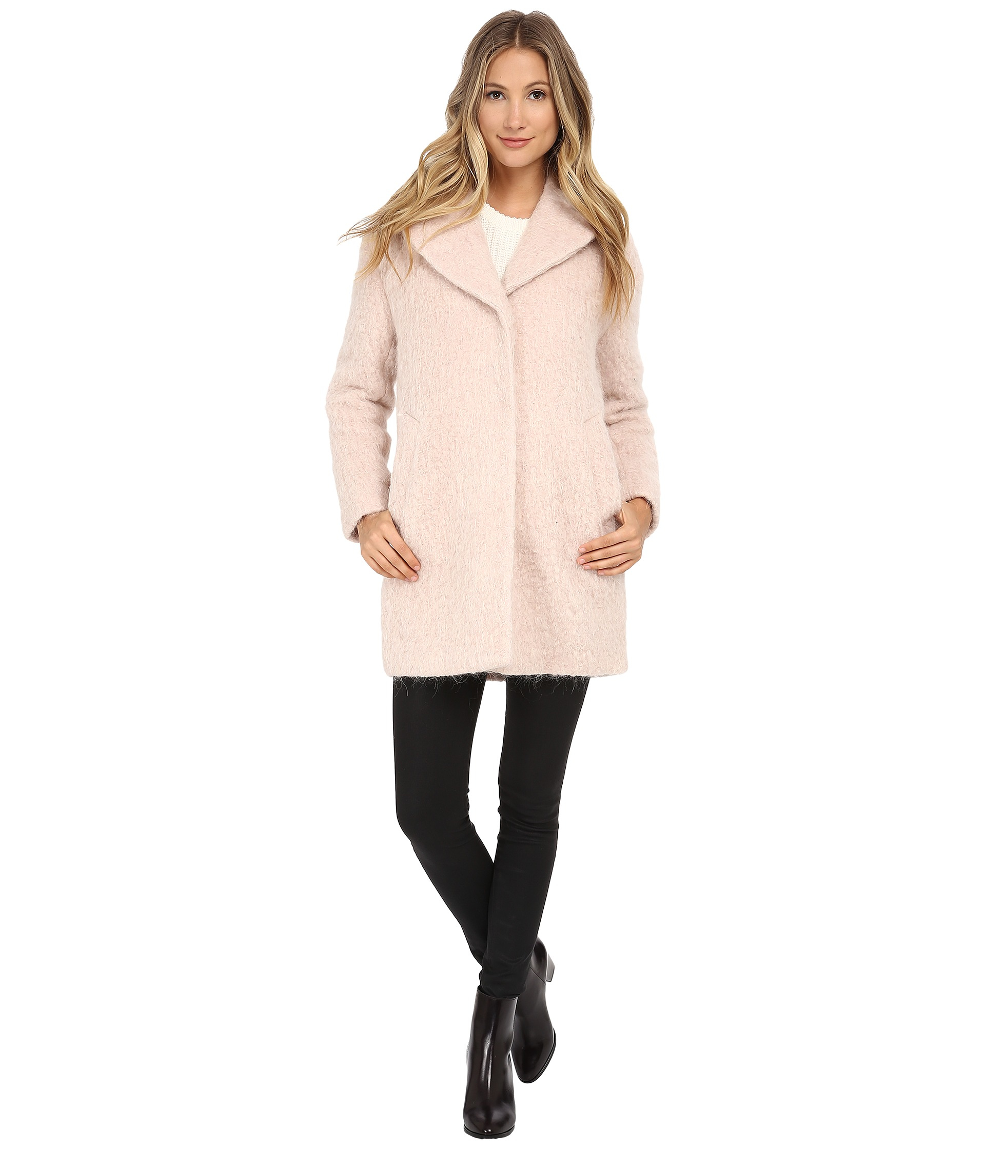 Cole haan Cocoon Coat With Knotch Collar in Pink | Lyst