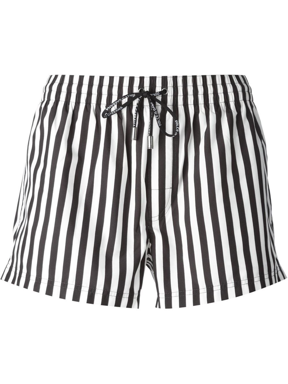 Dolce & gabbana Striped Swim Shorts in Black for Men | Lyst
