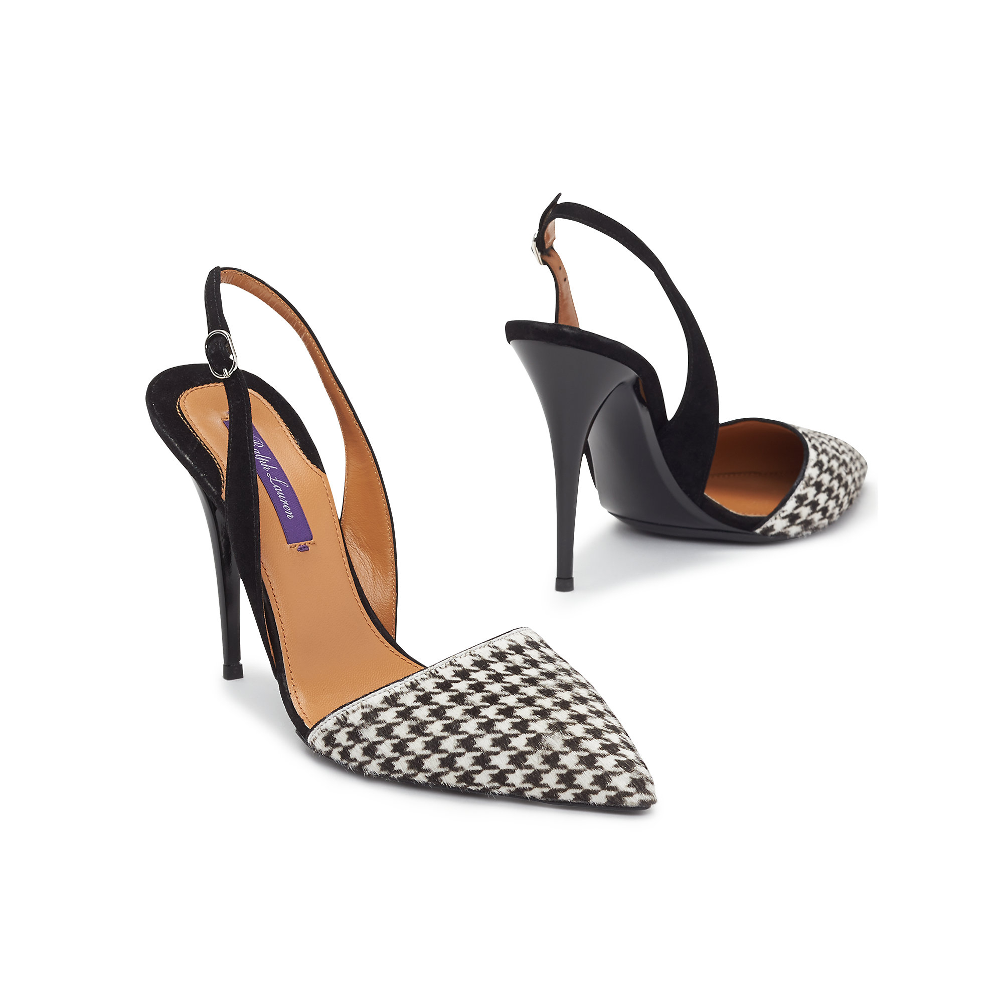 df1ca2b013fe Lyst - Ralph Lauren Houndstooth Haircalf Cece Pump in Black
