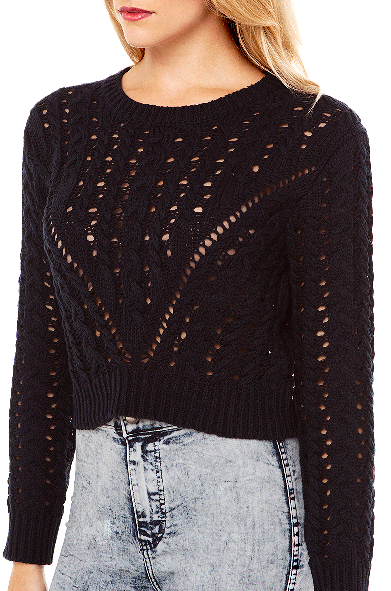 Akira black label Cable Knit Crop Sweater In Navy in Blue | Lyst