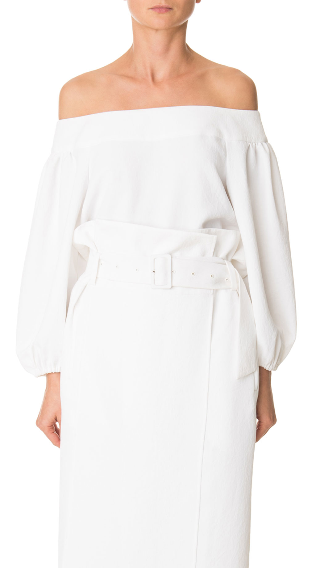 f3d786edefc555 Tibi Drape Twill Off-shoulder Top in White - Lyst