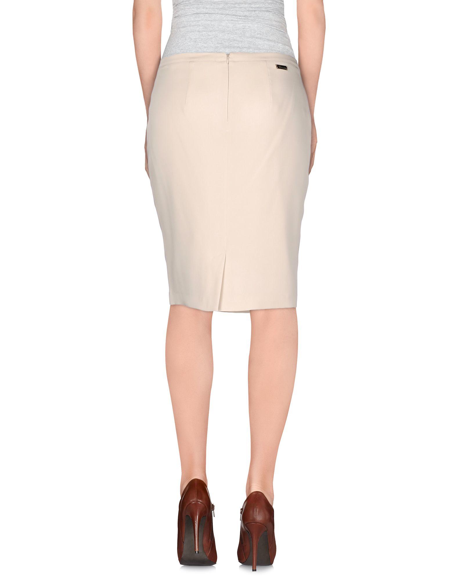 blumarine knee length skirt in beige lyst