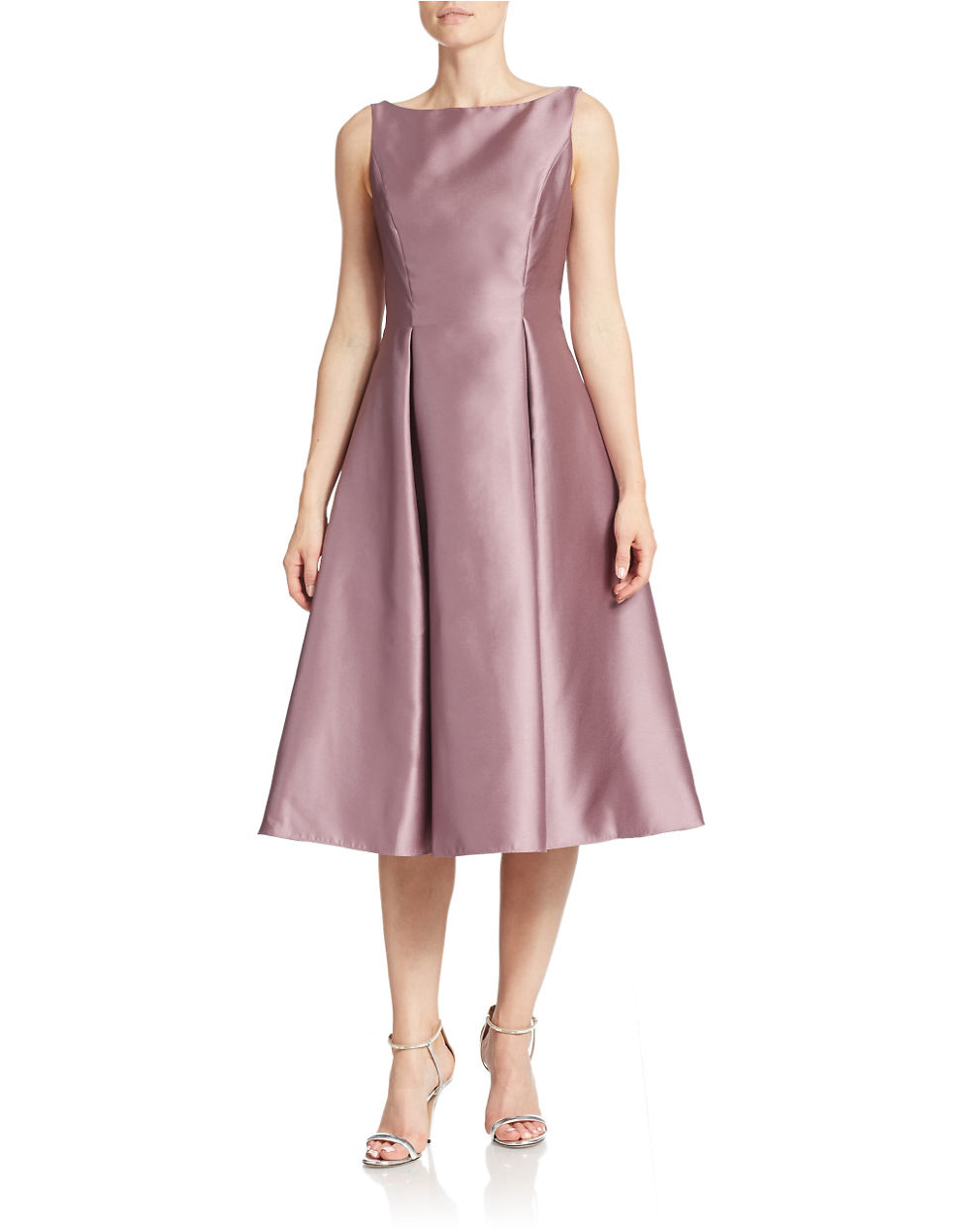 Adrianna Papell Tea Length Fit And Flare Dress In Pink